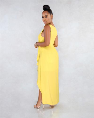 Yellow Sexy fashion classic solid Chiffon Pullover beach skirt