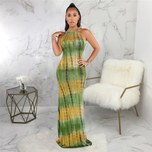 Orange Sexy fashion print slim dress