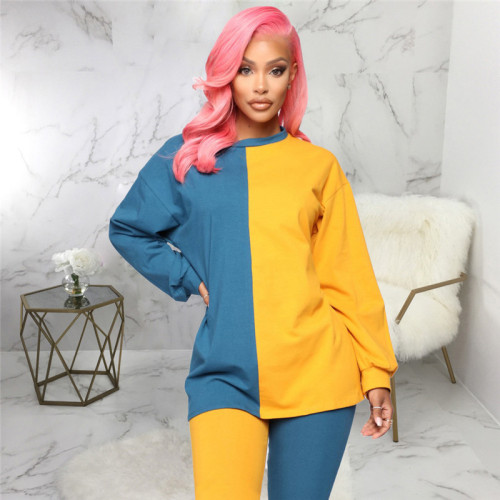 Yellow Two piece suit for leisure and fashion