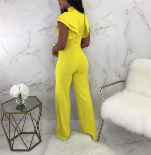 Yellow Sexy wide leg Jumpsuit