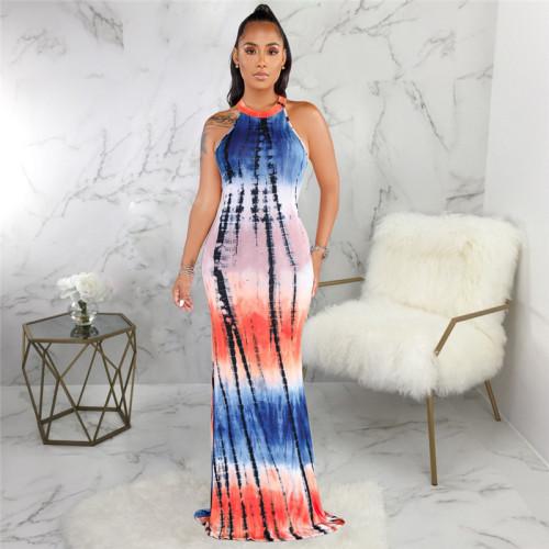 Blue Sexy fashion print slim dress