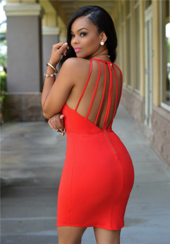 Red Sexy mesh dress