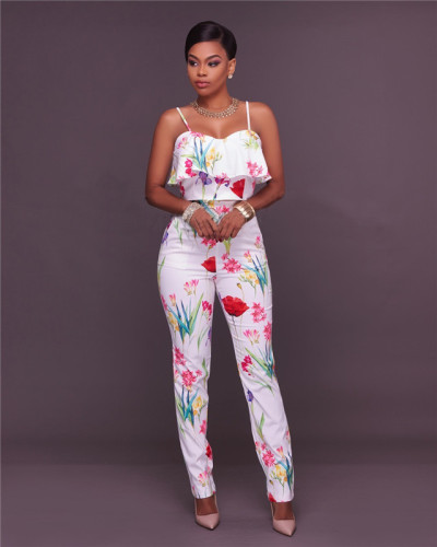 White Sexy print fashion two piece set