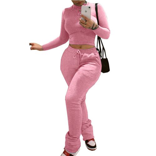 Pink Pocket high collar casual two-piece suit