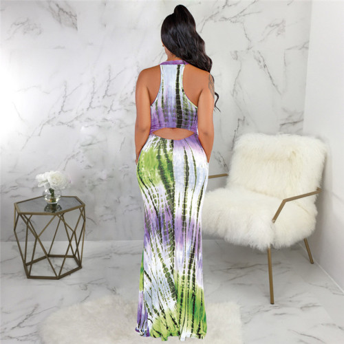 Green Sexy fashion print slim dress
