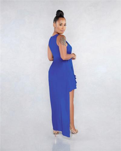 Blue Sexy fashion classic solid Chiffon Pullover beach skirt