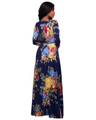 Dark Blue Sexy print fashion swing dress