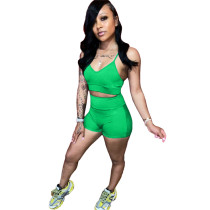 Green Pure color two-piece leisure sling set