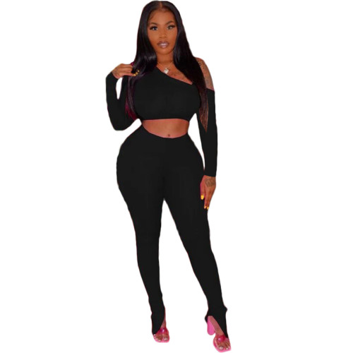 Black Long sleeve slanted shoulder trousers split set