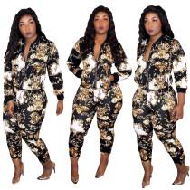 Printed casual zipper suit