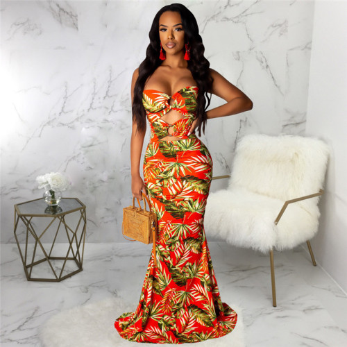 Red Sexy print fashion wind wrapped chest dress