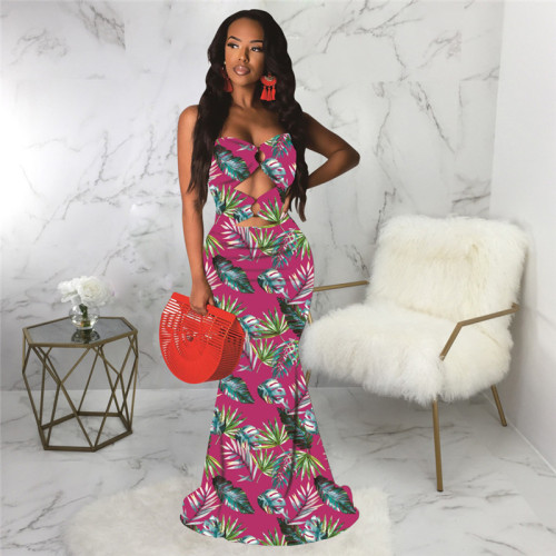 Rose Red Sexy print fashion wind wrapped chest dress