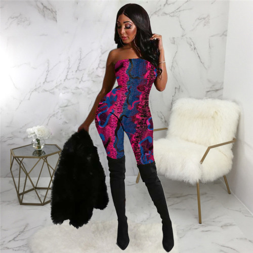 Blue Sexy fashion top tights casual suit