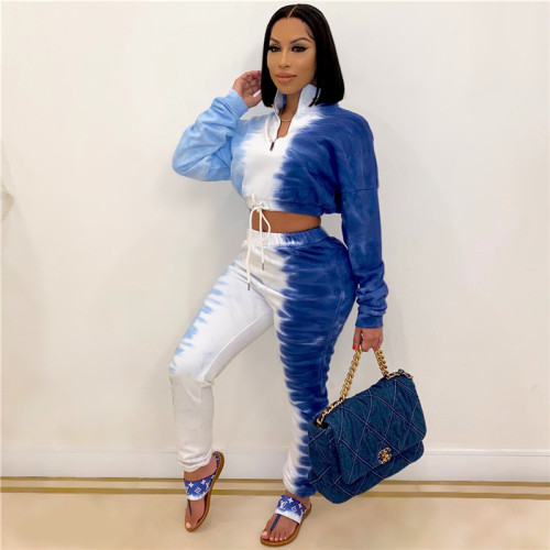 Blue Fashion tie dyed sports suit