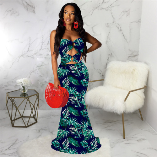Blue Sexy print fashion wind wrapped chest dress