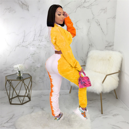 Yellow Fashion tie dyed sports suit