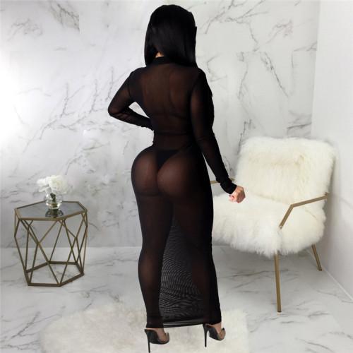 Black Sexy fashion super elastic mesh dress