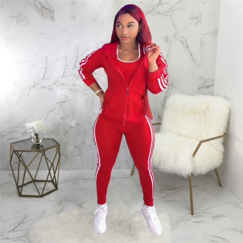 Red Three piece fashion sports suit