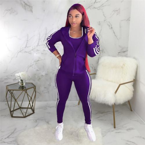 Purple Three piece fashion sports suit