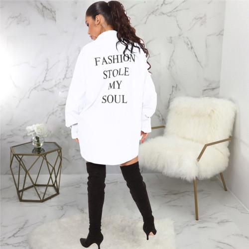 White Fashion letter Print Shirt multicolor dress