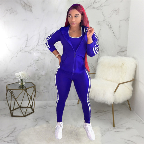Blue Three piece fashion sports suit
