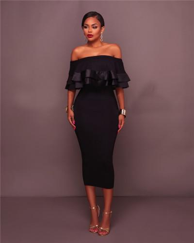 Black Bohemian vintage dress with one neck and large hem