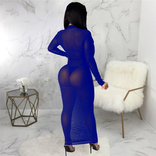 Blue Sexy fashion super elastic mesh dress