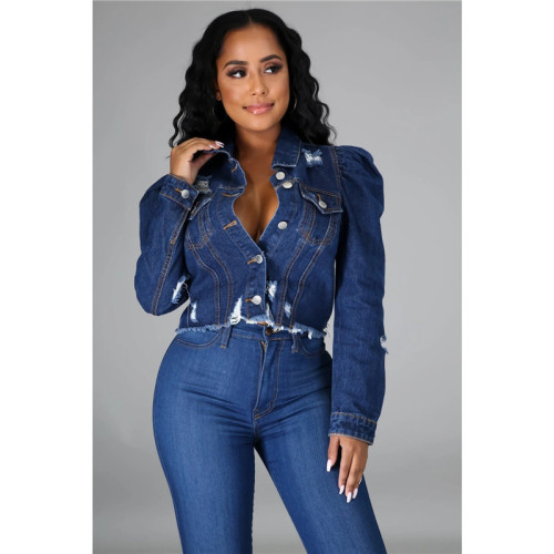 Blue Sexy fashion short women's slim fit denim jacket