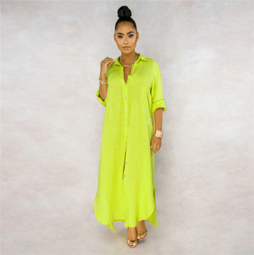 Fluorescent green Sexy fashion classic solid color women's lining dress