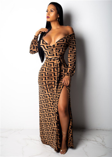 Brown Fashion V-neck leaky shoulder women's sexy one-piece skirt