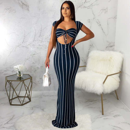 Dark Blue Sexy fashion striped print dress