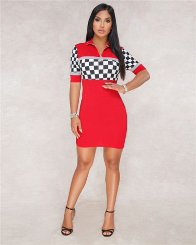 Red Sexy fashion women's racing suit Plaid Dress