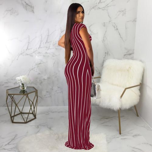 Claret Sexy fashion striped print dress