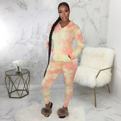 Pink&Yellow Casual fashion tie dyed two piece hooded sports suit