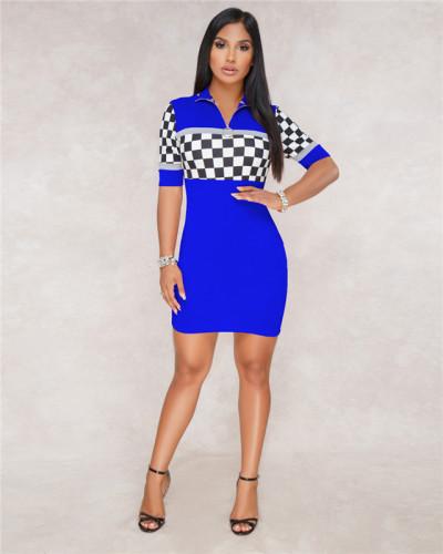 Blue Sexy fashion women's racing suit Plaid Dress