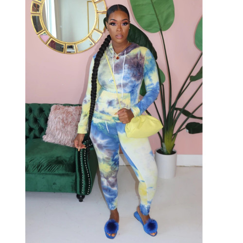 Yellow&Blue Casual fashion tie dyed two piece hooded sports suit