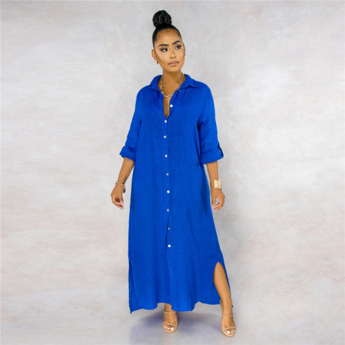 Blue Sexy fashion classic solid color women's lining dress