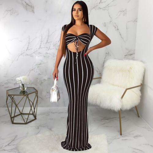 Black Sexy fashion striped print dress