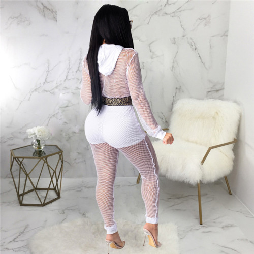 White Sexy and fashionable two piece mesh splicing suit