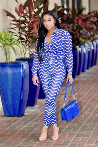 Blue Fashion sexy women's casual wave stripe two piece set