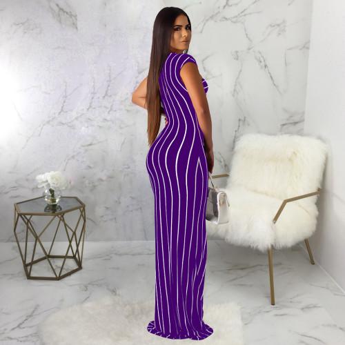 Purple Sexy fashion striped print dress