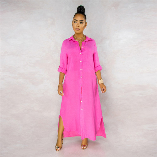 Rose Red Sexy fashion classic solid color women's lining dress