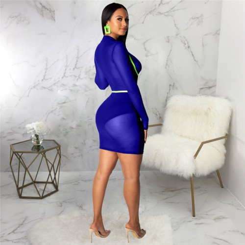 Blue Sexy fashion slim women's dress