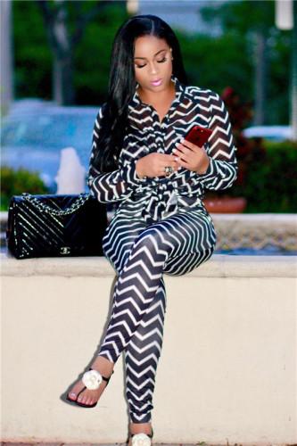 Black Fashion sexy women's casual wave stripe two piece set