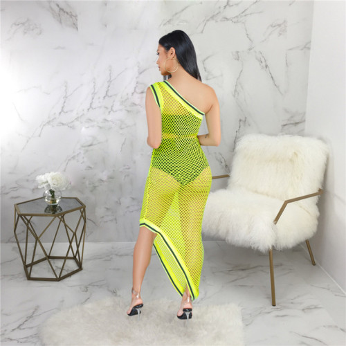 Fluorescent green Sexy fashion hollow out blouse with buttocks and beach skirt