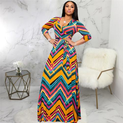 Sexy fashion print V-neck dress