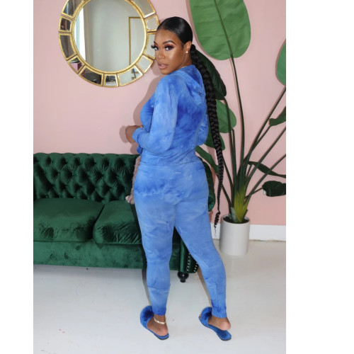 Blue Casual fashion tie dyed two piece hooded sports suit