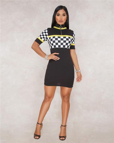 Black Sexy fashion women's racing suit Plaid Dress