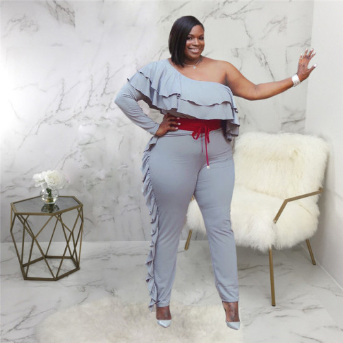 Gray Sexy fashion large women's one shoulder Jumpsuit