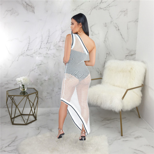 White Sexy fashion hollow out blouse with buttocks and beach skirt